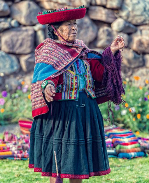 Peruvian woman with colorful clothing